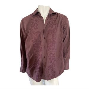 Tommy Bahama Burgundy Button Shirt with Floral M